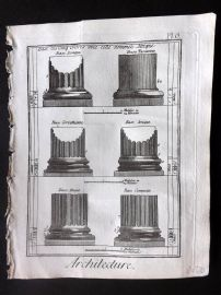 Diderot 1780's Antique Print. Architecture 06 Column Bases